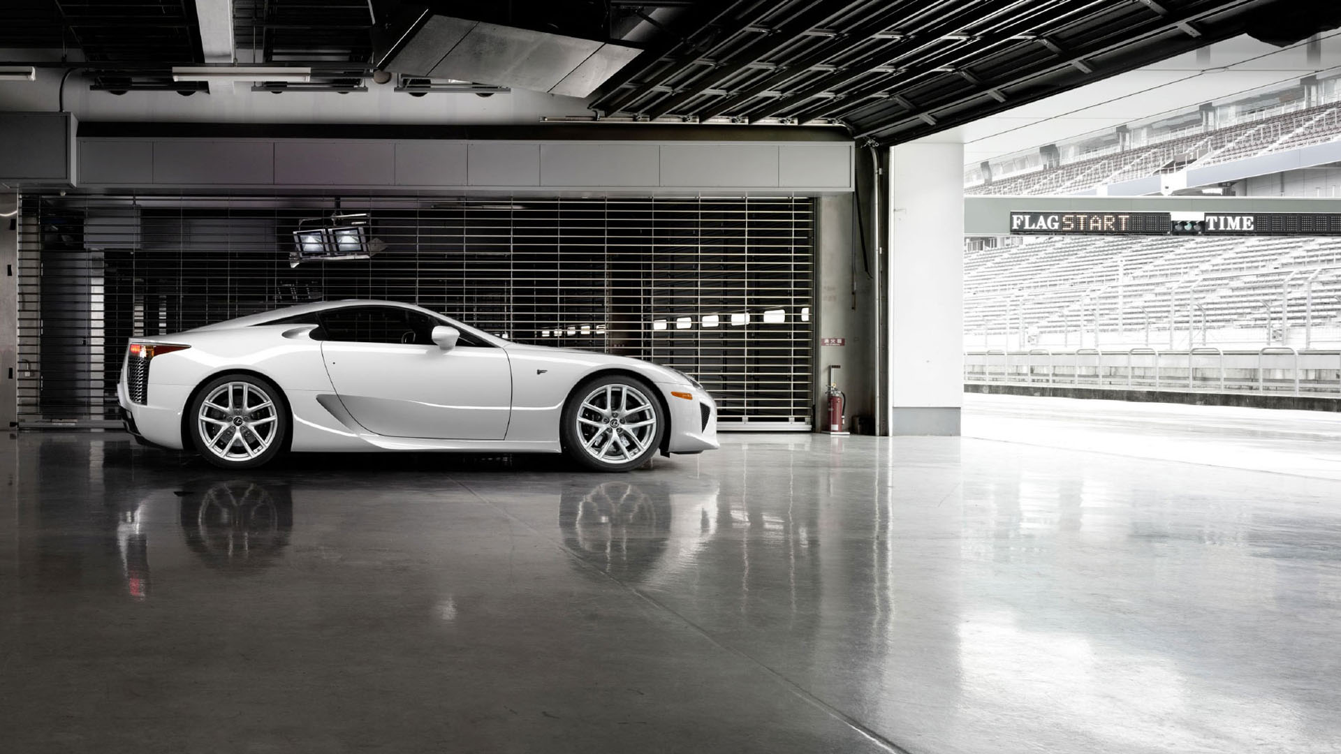 A Lexus LFA at a race track