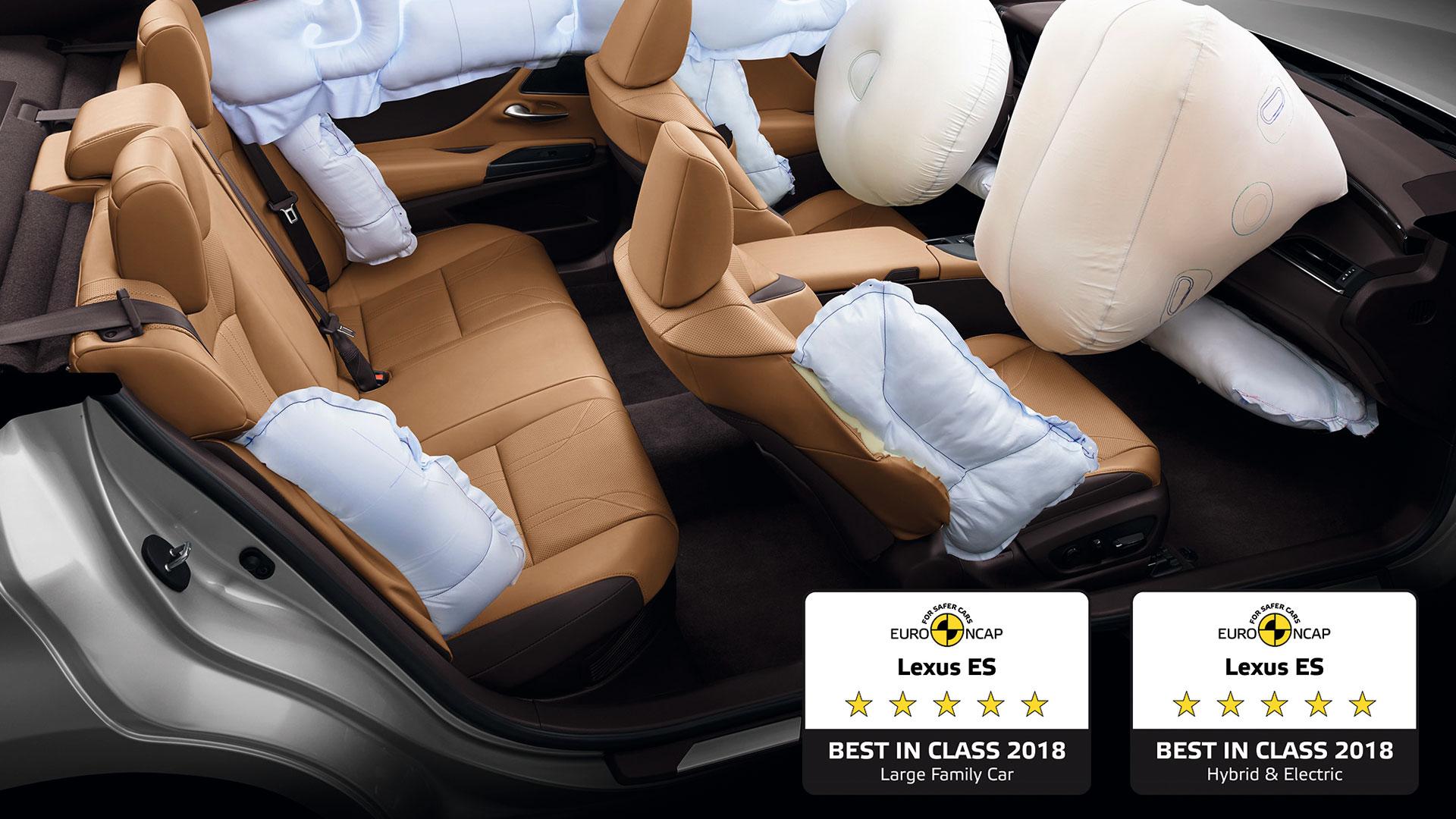 Imagen del Lexus ES con los distintivos de seguridad Euro NCAP