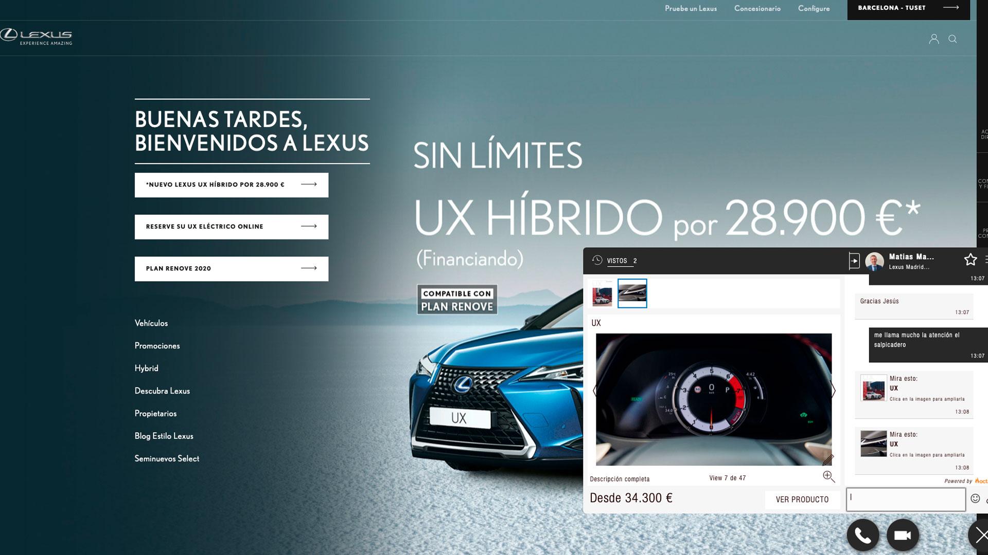 Imagen del livechat de Lexus