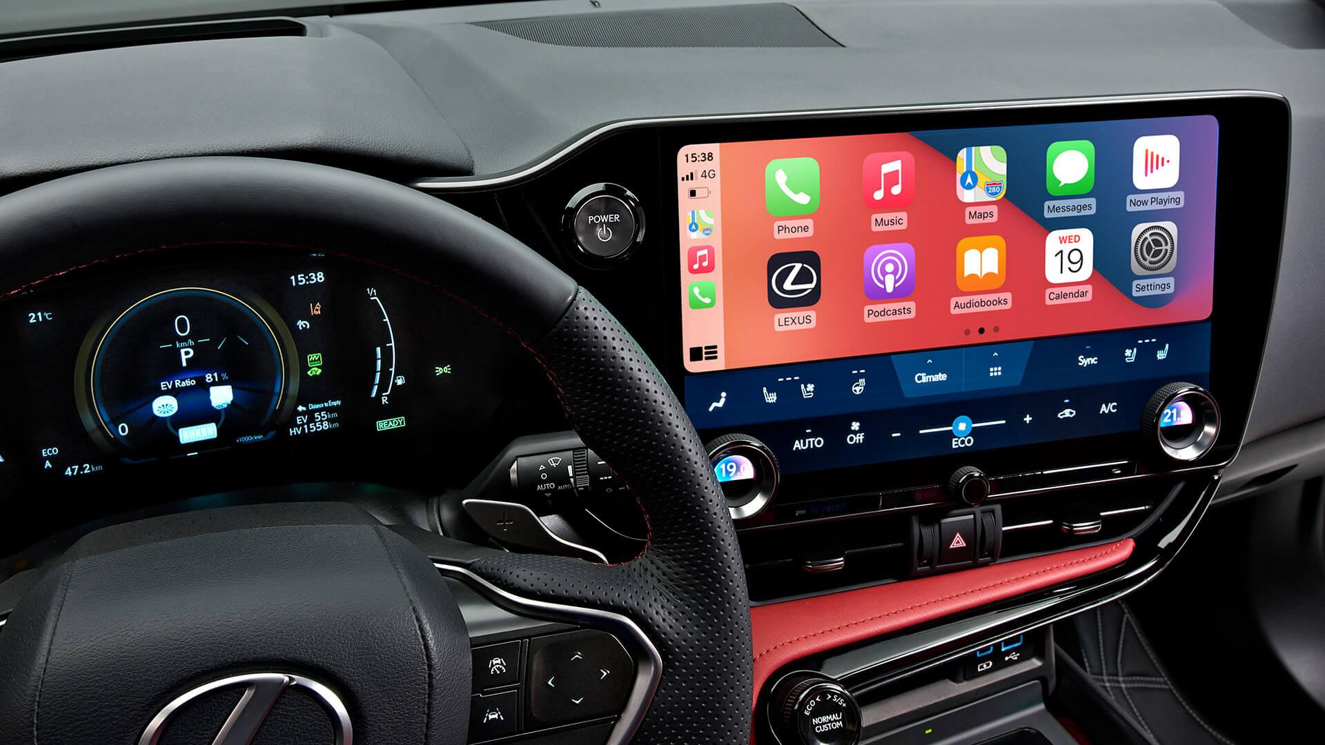 2021 lexus nx experience interior front smartphone integration