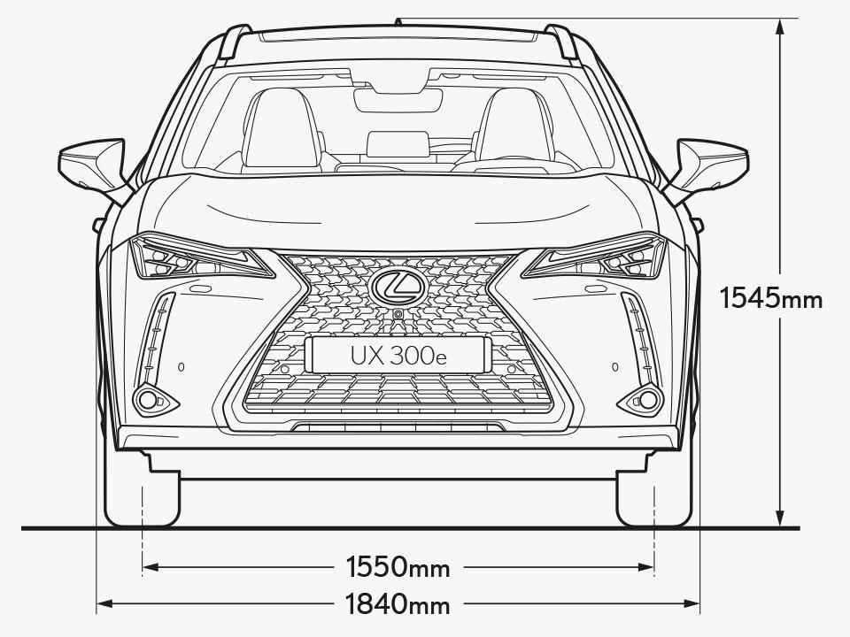 UX 300e Front Dimensions Image