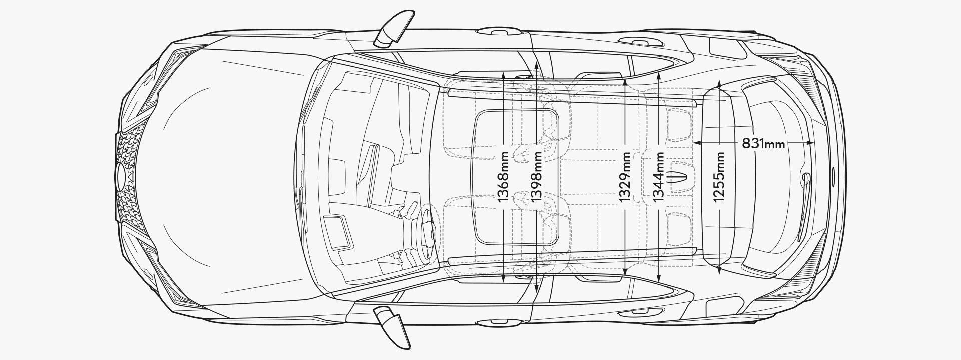UX 300e Top Dimensions Image