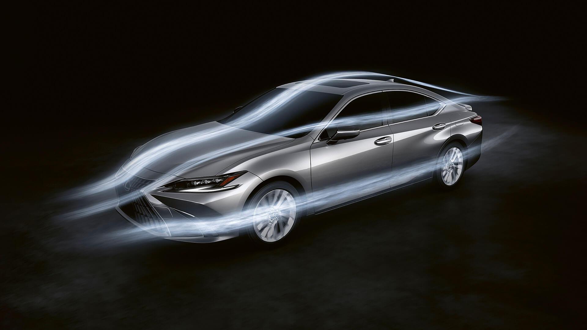 2022 RU lexus es experience exterior back aerodynamics hybrid acoustics
