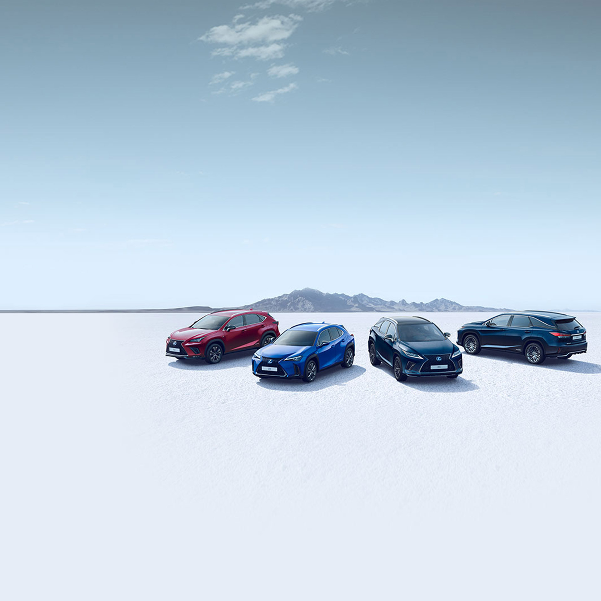 Bild av hela Lexus SUV range UX NX RX RX L